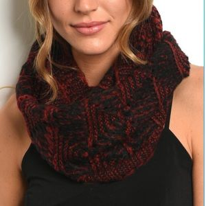 Burgundy and Black Knit Infinity Scarf